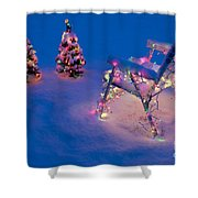 Christmas Lights On Trees And Lawn Chair Shower Curtain