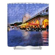City Of Rhodes During Dusk Time Shower Curtain