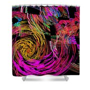 Colorful Psychedelic Abstract Fractal Art Shower Curtain