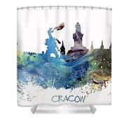 Cracow City Skyline Shower Curtain