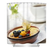 Creme Brulee Dessert Shower Curtain