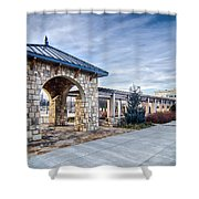 Cultured Stone Terrace Trellis Details Near Park In A City  Shower Curtain