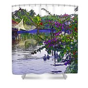 Ducks And Flowers In Lagoon Water Shower Curtain