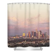 Elevated View Of City At Dusk, Downtown Shower Curtain