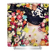 Fashion Model Posing With Flowers Shower Curtain