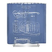 Fender Floating Tremolo Patent Drawing From 1961 - Light Blue Shower Curtain by Aged Pixel