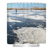 Fishermen On The Frozen River Shower Curtain