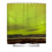 Green Glow Of Northern Lights Or Aurora Borealis Shower Curtain
