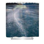 Ice Pattern On Frozen Abraham Lake Shower Curtain