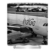 Indigo Aircraft Getting Ready In Changi Airport Shower Curtain