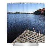 Lake In Autumn Shower Curtain