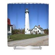Lighthouse - Presque Isle Michigan Shower Curtain