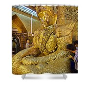 4 M Tall Sitting Buddha With Thick Layer Of Golden Leaves In Mahamuni Pagoda Mandalay Myanmar Shower Curtain