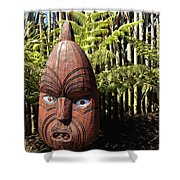 Maori Carving Shower Curtain by Les Cunliffe