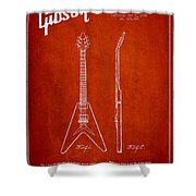 Mccarty Gibson Electric Guitar Patent Drawing From 1958 - Red Shower Curtain