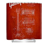 Mccarty Gibson Les Paul Guitar Patent Drawing From 1955 - Red Shower Curtain
