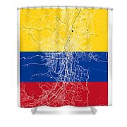 Medellin Street Map - Medellin Colombia Road Map Art On Colored  Shower Curtain
