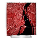 Montreal Street Map - Montreal Canada Road Map Art On Colored Ba Shower Curtain