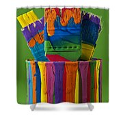Multicolored Paint Can With Brushes Shower Curtain