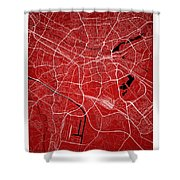 Nuremberg Street Map - Nuremberg Germany Road Map Art On Colored Shower Curtain