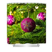 Ornament In A Christmas Tree Shower Curtain