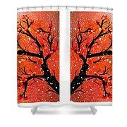 4-panel Snow On The Orange Cherry Blossom Trees Shower Curtain