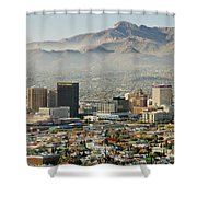 Panoramic View Of Skyline And Downtown Shower Curtain