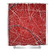 Paris Street Map - Paris France Road Map Art On Colored Backgrou Shower Curtain