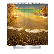 Rainbow And Dark Clouds Over Large Lake Shower Curtain