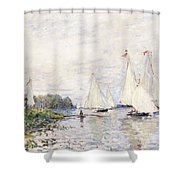 Regatta At Argenteuil Shower Curtain by Claude Monet