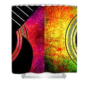 4 Seasons Guitars Panorama Shower Curtain by Andee Design