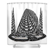 Sparkle Bnw White Pyramid Dome Ancient Arch Architecture Formation Obtained During Deep Meditation W Shower Curtain