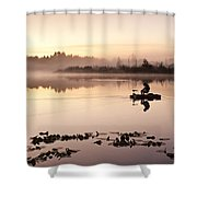 Sunrise In Fog Lake Cassidy With Fishermen In Small Fishing Boat Shower Curtain