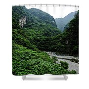 Taiwan Tropical Mountainscape Shower Curtain
