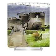 Tourists And The Path At Ruins Of The Urquhart Castle Shower Curtain