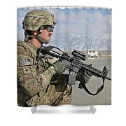 U.s. Army Specialist Provides Security Shower Curtain