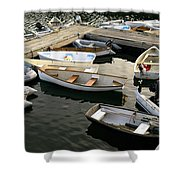 View Of Boats At A Harbor, Rockland Shower Curtain