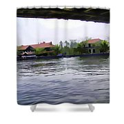View Of Lake Resort Framed From The Top Of A Houseboat Shower Curtain