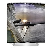 View Of Sunrise From Boat Shower Curtain