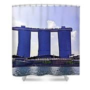 View Of The Towers Of The Marina Bay Sands In Singapore Shower Curtain