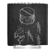 Vintage Snare Drum Patent Drawing From 1889 - Dark Shower Curtain