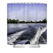 Wake From The Wash Of An Outboard Motor Shower Curtain