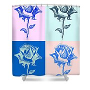 4 Warhol Roses By Punt Shower Curtain