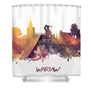 Warsaw City Skyline Shower Curtain
