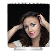 Woman Smiling Shower Curtain