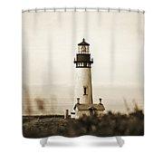 Yaquina Head Lighthouse - Sepia Texture Shower Curtain