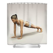 Yoga Plank Pose Shower Curtain