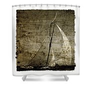 40 Sailboat - With Open Wings In A Grunge Background  Shower Curtain