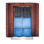 401 Blue Factory Door Shower Curtain