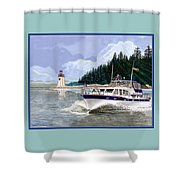 43 Foot Tollycraft Southbound In Clovos Passage Shower Curtain